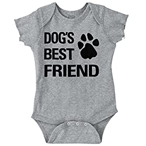 Brisco Brands Dog Best Friend Funny Shirt Cool Puppy Cute Gift Baby Clothes Romper Bodysuit