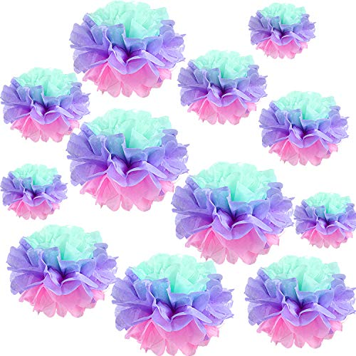(Gejoy 12 Pieces Paper Flower Tissue Paper Chrysanth Flowers DIY Crafting for Wedding Backdrop Nursery Wall Decoration (Multicolor)