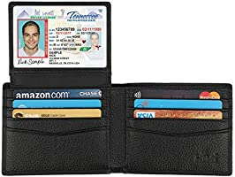 Wallet for Men-Genuine Leather RFID Blocking Bifold Stylish Wallet With 2 ID Window (Black-Pebble Leather)