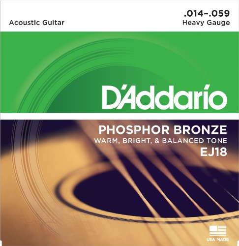 D'Addario EJ18 Phosphor Bronze Acoustic Guitar Strings, Heavy (1 Set) - Corrosion-Resistant Phosphor Bronze, Offers a Warm, Bright and Well-Balanced Acoustic Tone and Comfortable ()