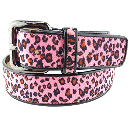 Faux Fur Animal Printed Belt Pink Leopard S/M