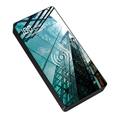 Wireless Portable Charger, 20000mAh high-Capacity high-Speed Wireless Power Bank, with Flashlight, Tempered Glass Panel with LED Display, Suitable for iPhone or Android Phones