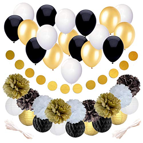 Black and Gold Party Decorations for Birthday or Wedding Anniversary - 37 Pack - Make Him an Unforgettable Going Away Event with Honeycomb Supplies - Great for 25th 30th 40th 50th or 60th Celebration -