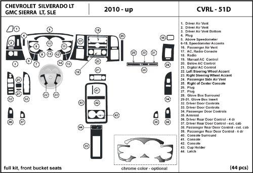 DL Auto Dash Kit GMC Sierra SLE 2010 2011 2012 - Full Kit W/ Front Bucket Seats W/ Chrome Inserts - Black Cherry Wood