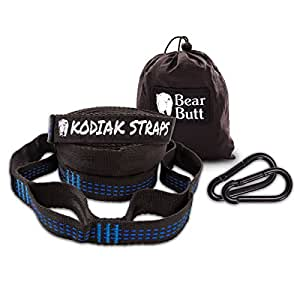Bear Butt Kodiak Hammock Straps - 40 Combined Loops - 20 Feet Long - Holds 1000 Pounds From Our Extra Reinforced Triple Stitching - Get Our Hammock Tree Straps - Start Up Company (Black / Blue)