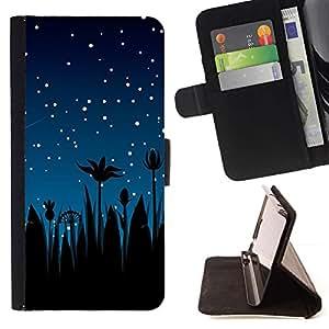 Momo Phone Case / Flip Funda de Cuero Case Cover - Estrellas del cielo nocturno Blue Stars Shooting palmeras - Sony Xperia Z1 L39