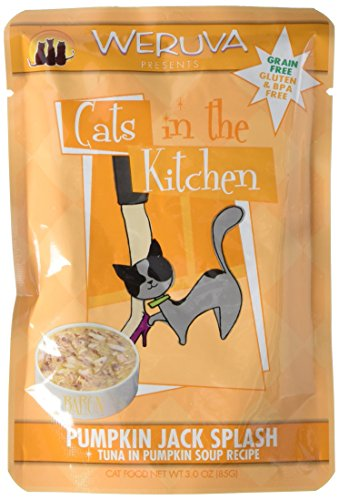 Weruva Cats in the Kitchen, Pumpkin Jack Splash with Tuna in Pumpkin Soup Cat Food, 3oz Pouch (Pack of 8)
