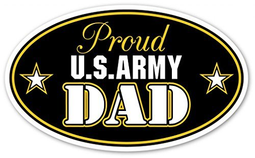 Army Dad Decal (Proud US Army Dad Support our Troops Euro Vinyl Decal Bumper Sticker - Perfect For Car, Wall, Window, Laptop, Motorcycle, Bike, Helmet And Any Smooth Surface 3