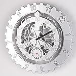 "TECHTONGDA 18"" Mechanical Style Gear Elements Quartz Movement Wall Clock Decorative Modern Steampunk Wheel Clock 8"