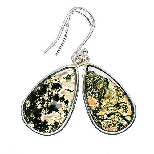 Green Moss Agate Earrings 1 5/8