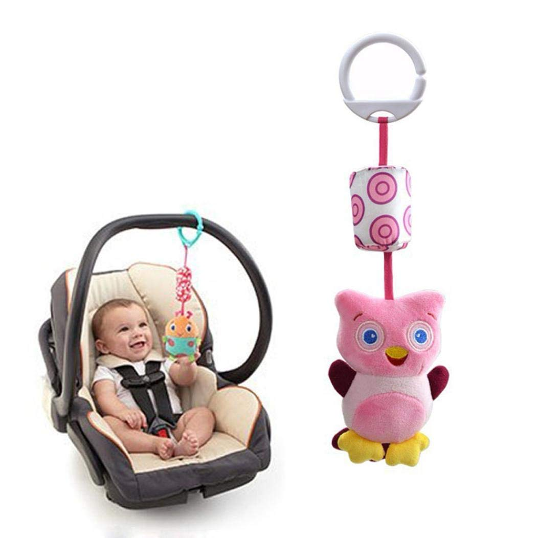 Gbell Soft Plush Animal Handbells, Stroller Hanging Bell Rattles for Infant Baby Toddlers 3-36 Months (A)
