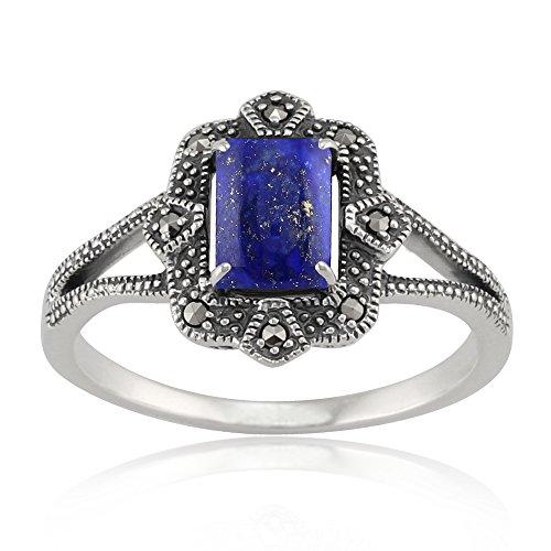 Gemondo Art Deco Ring, 925 Sterling Silver 0.90ct Lapis Lazuli & 8.8pt Marcasite Art Deco Style (Art Deco Marcasite Ring)
