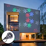 CO-Z LED Landscape Projector Light Waterproof Outdoor/Indoor Snowflake/Heart Shaped Moving Spotlight (Colorful Snowflake)
