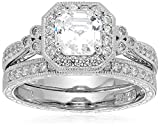 Platinum or Gold Plated Sterling Silver Asscher-Cut Swarovski Zirconia Antique Ring Set (4.5 cttw)