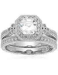 Sterling Silver Swarovski Cubic Zirconia Antique-Style Bridal Ring Set