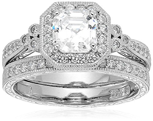 (Platinum-Plated Sterling Silver Antique Ring set with Asscher-Cut Swarovski Zirconia, Size 6)