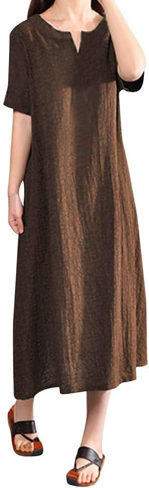 Clearance Swiusd Womens Cotton Linen Plus Size Dress Retro Solid Color Dresses Casual V Neck Comfy Short Sleeve Dress S-5XL