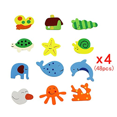 48 Pieces Novelty Animals Wooden Fridge Magnet Sticker Decoration Cute Funny Refrigerator Kid Children Toy,For 1-15 Year Baby Kids Learning Varvous Animals