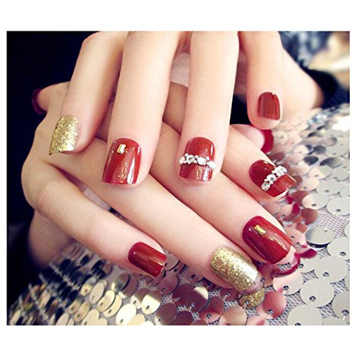 Cute Halloween Nails Ideas (Dongcrystal 24Pcs 3D Bling Nail Art Jewelry Glitter Rhinestone Decor Red Nail Tips Fake Nails)