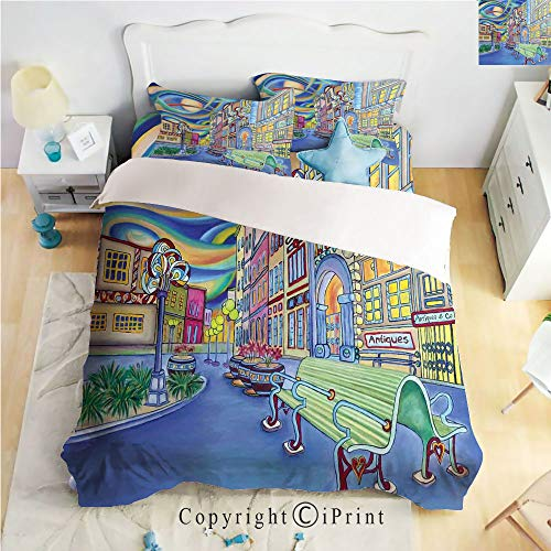 - Homenon Hight Quality 4 Piece Bed Sheet Set,Seattle Downtown Modern City Colorful Design Art Oil Painting Effect Decorative,King Size