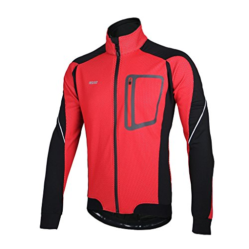 ARSUXEO Winter Thermal Fleece Cycling Jacket Windproof 14D Red Size X-Large