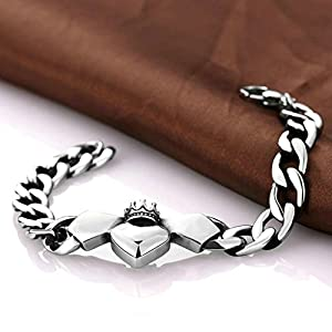 AmDxD Jewerly Gold Plated Men Charm Bracelet Silver Heart Crown Shaped 8Inch,as Best Gift