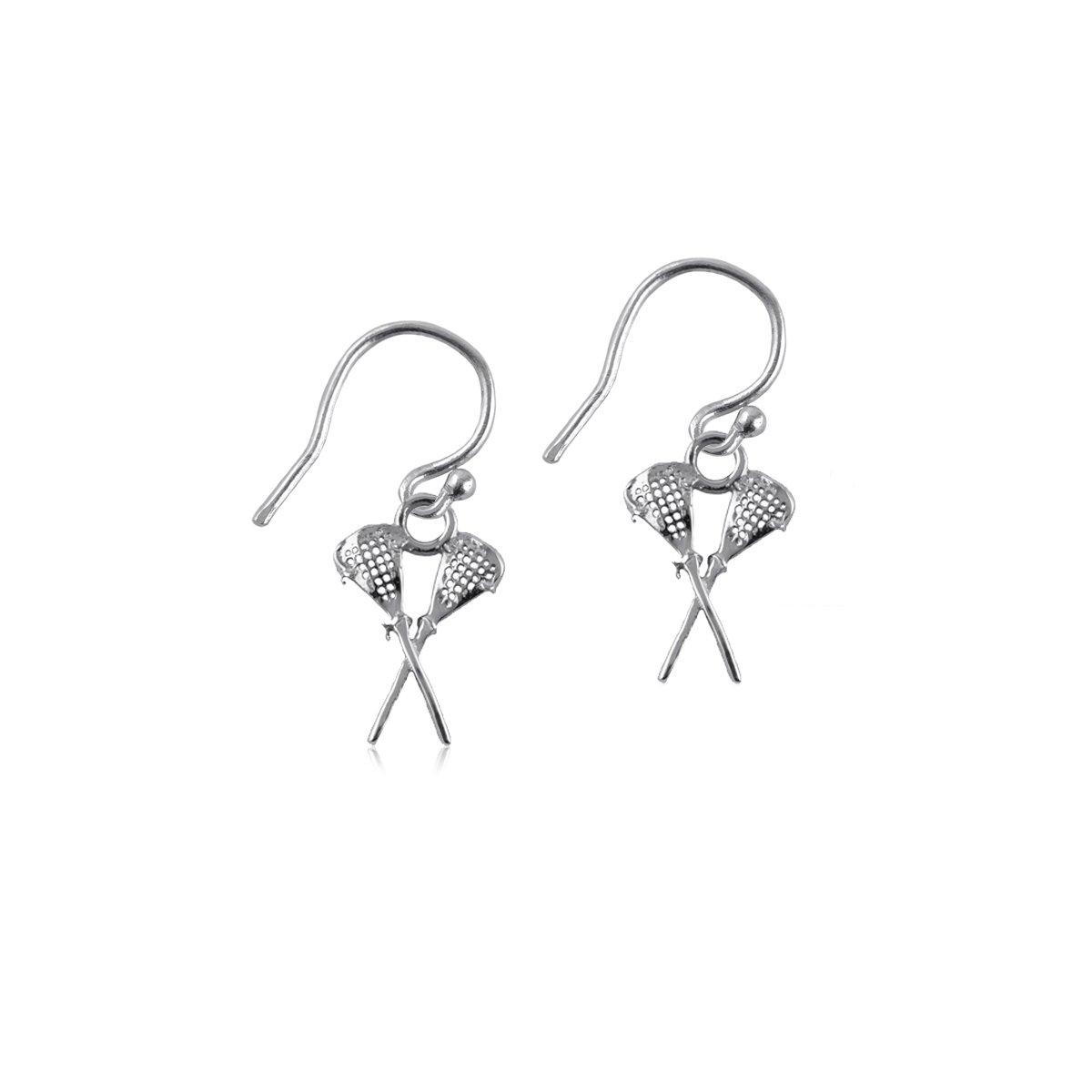 Lacrosse Sticks Dangle Earrings - Sterling Silver Jewelry by Dayna Designs