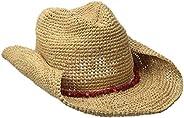 San Diego Hat Company Women's Crochet Raffia Cowboy Hat with Turquoise