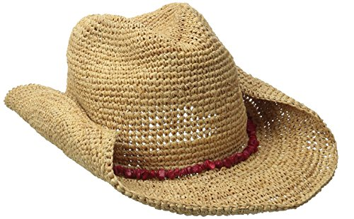 San Diego Hat Company Women's Crochet Raffia Cowboy Turquoise Hat with Beaded Trim, Natural/Coral, One Size (Raffia Crochet Hat)