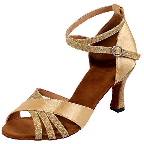 Loslandifen Mujer Peep Toe Zapatos De Baile Criss Cross Strap Salsa Tango Latin Sandals Gold-a
