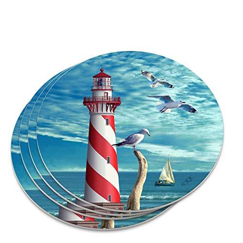 Lighthouse Seashore Ocean Beach Seagulls Sailboat Novelty Coaster Set ()