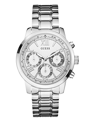 GUESS-Womens-U0330L3-Sporty-Silver-Tone-Stainless-Steel-Watch-with-Multi-function-Dial-and-Pilot-Buckle