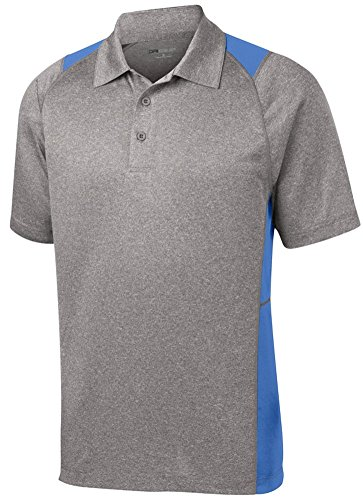 DRI-EQUIP Moisture Wicking 2-Color Athletic Polo, Small, Heather and Carolina Blue