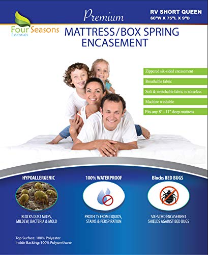 Four Seasons Essentials RV Short Queen Mattress Protector 60 Wx75 Lx9 D - Bedbug Waterproof Zippered Encasement Hypoallergenic Premium Quality Cover Protects Against Dust Mites Allergens