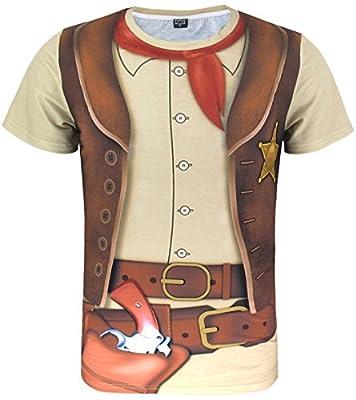Funny World Men's Western Cowboy Costume T-Shirts