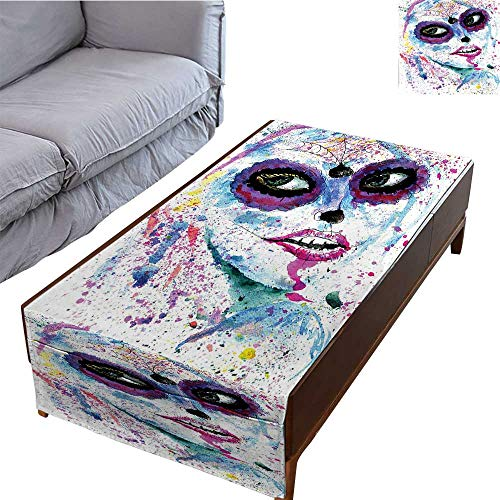 DESPKON-HOME Coffee Table Tablecloth Simple Modern Style Halloween Lady with Sugar Skull Make Up Creepy Dead Face Gothic Woman 27.5X70.8 ()