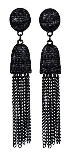 Luxurious Long Hanging Metal Chain Fringe Dangle Tassel Drop Earrings by Pashal (Jet ()