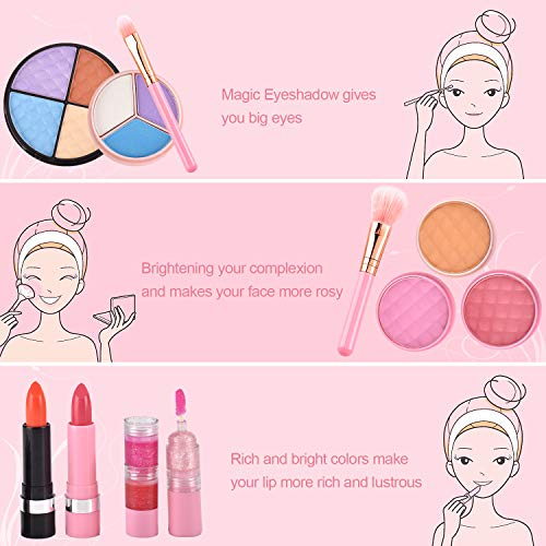 balnore 21 Pcs Kids Makeup Kit for Girl, Washable Makeup Toy Set, Safe & Non-Toxic,Real Cosmetic Beauty Set for Kids Play Game Halloween Christmas Birthday Party