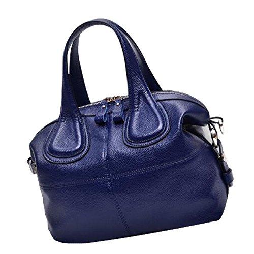 Lady Fashion PU Cartera De Cuero Cartera Top-Handle Bolsas De Hombro Para Las Mujeres Multicolor Blue