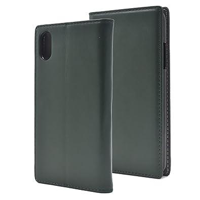 58ad97be35 Apple iPhoneX 本革 シープスキン レザー 横開き 手帳型 スマホケース [グリーン] フラップ