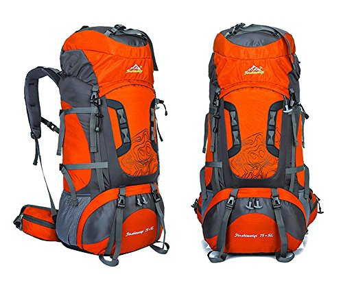 75L + 5L grande impermeable del campo del alza del recorrido del morral teengers Montañismo Ascenso pack de bolsas para hombres mujeres , black Orange