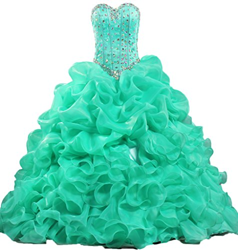 ANTS Women's Formal Crystal Ruffle Quinceanera Party Dress Long Size 10 US Turquoise