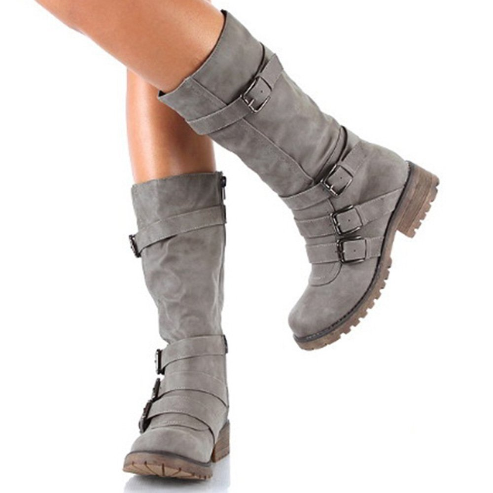 Rainlin Women's Mid-Calf Boots Suede Buckles Riding Boots Size 7.5 Grey by Rainlin (Image #3)