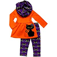So Sydney Toddler & Girls Fall Halloween 3 Pc Outfit with Leggings Infinity Scarf