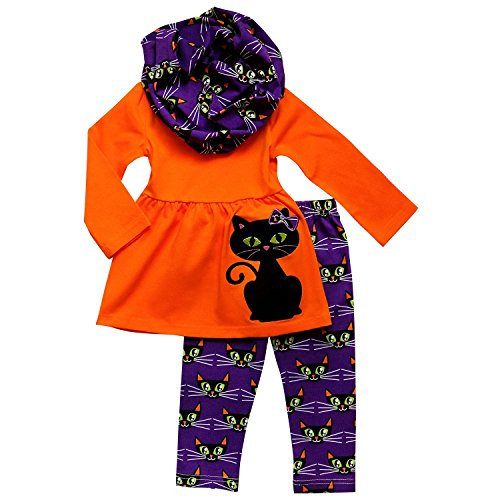 So Sydney Toddler & Girls Fall Halloween 3 Pc Outfit with Leggings Infinity Scarf (M (4T), Black Cat)