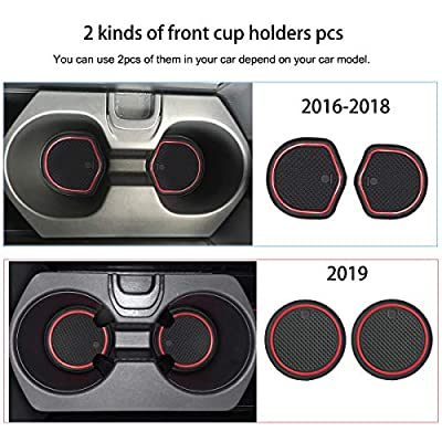 Auovo Anti-dust Door Mats Inserts Cup Center Console Liner Accessories Fit for Honda Civic Hatchback 2016 2020 2020 2020 2020 (21pcs/Set, Red): Automotive
