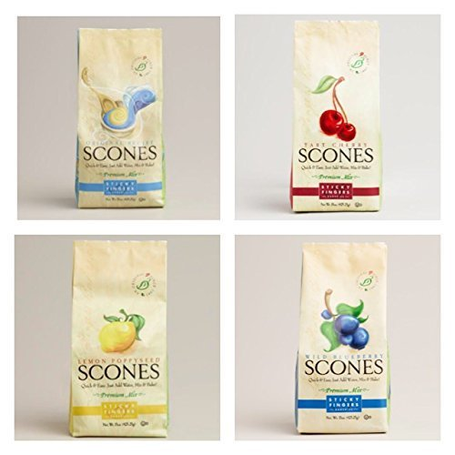 Sticky Fingers Scone Mix Variety Pack of 4 (Original, Wild Blueberry, Tart Cherry, and Lemon Poppy Seed) 15 Oz. Each - Cherry Scone