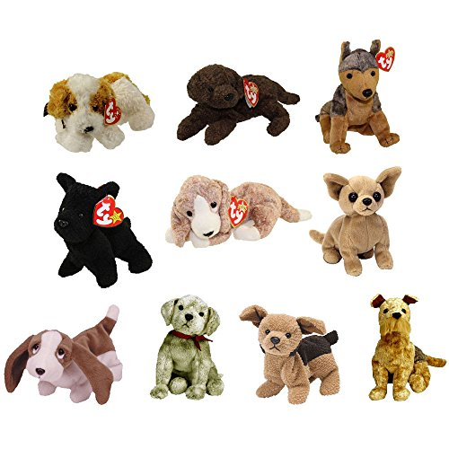 TY Beanie Babies - DOGS (Set of 10) (Darling, Fetcher, Sarge, Scottie, Sniffer, Tiny +4) (5-7 in) (Beanie Baby Dog)