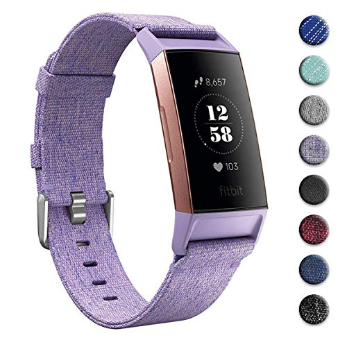 hooroor Canvas Woven Bands Compatible for Fitbit Charge 3 and Charge 3 SE Fitness Tracker, Breathable Fabric Soft Accessory Sports Replacement Band Wristbands Strap for Women Men (Lavender, Small)