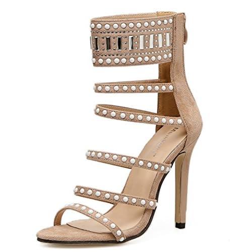 195377d6004 L-XIE Mujer Alto Tacón Sandalias Estilete Zapatos Mirar furtivamente Dedo  del pie Ante Diamante